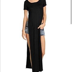 Short sleeve side slit dress long shirt